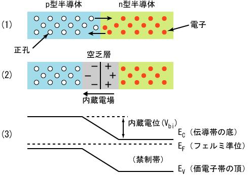 半导体的pn结和能阶结构的示意图