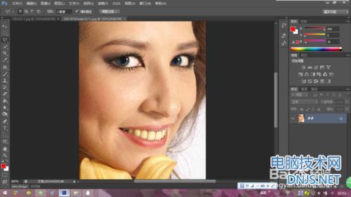 Photoshop怎么把图片人物的牙齿给美白?